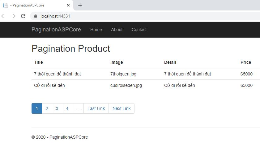 Pagination using ASP.NET Core 2.1