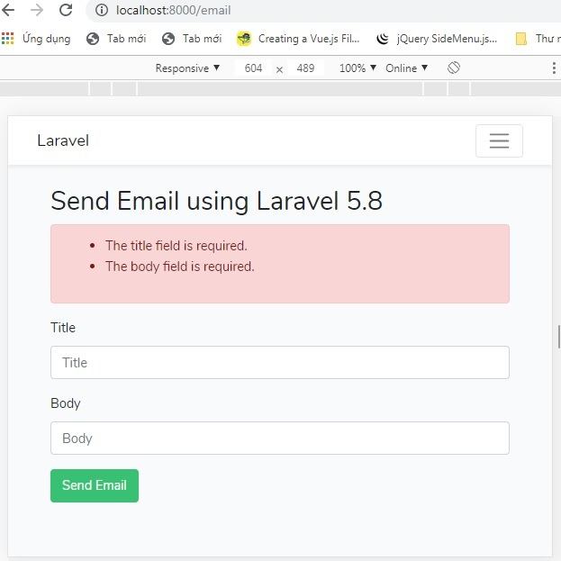 send email using queue in laravel 5.8